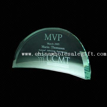 Jade crystal curve award Crystal Semi-circular Award with Etchings