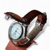 Wrist Metal Watch, with PU Leather Belt images