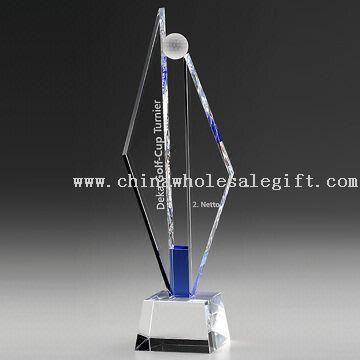 Optical Crystal Award/Crystal Trophy(Golf Awards) with 3D/2D Laser Engraving
