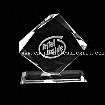 Rhombus award Crystal Rhombus-shaped Award with Engraving