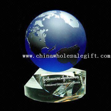 Swivel sapphire globe award Crystal Globe Award with Etchings