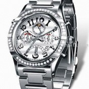 Automatic Metal Watch with Sapphire Crystal and Case Bezel with Stone images