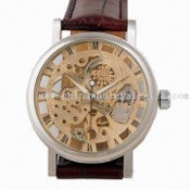Automatic Watch, with Mechanical Movement and Leather Strap images