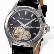 Skeleton Mechanical Watch, Citizen Movement, Sapphire Glass, Top-grade Genuine Leather Strap images