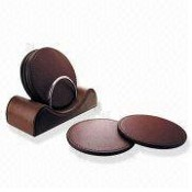 Zinc-alloy Coasters with Holder in Imitation Leather Design images