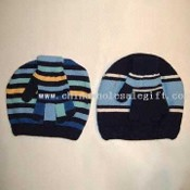 Varsity Striped Knit Cap and Gloves Set Made of Acrylic Yarn images