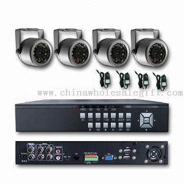 Waterproof Security Camera Kit with 1/4-inch Sharp CCD Image Sensor and 15m LED Distance