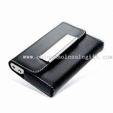 Leather Business Card Holder with Magnetic Button, Customized Designs are Welcome