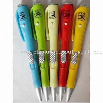 LED Projector Pen with Retractable Refill, Made of Plastic Material