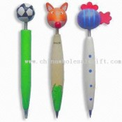 Wooden Ballpoint Pens with Animal-shaped Top, Suitable for Promotions images