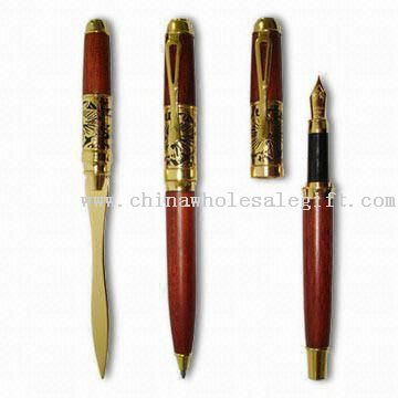 Wooden Letter Opener, Ball/Roller/Fountain Pen Sets, Measuring 140 x 12mm
