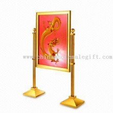 Menu/Information Stand with Gold Plating Finish, Made of Stainless Steel and Steel Iron images