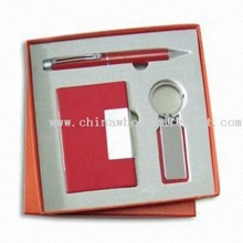 Stationery Gift Set in 3 Pieces, Includes Ball Pen, Keychain and Name Card Holder images