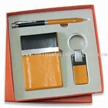 Yellow 3-piece Stationery Gift Set, Includes Name Card Holder, Ball Pen and Keychain images