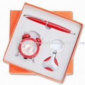 Three-piece Stationery Gift Sets, Includes Alarm Clock, Keychain and Ballpoint Pen images