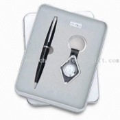 Two-piece Stationery Gift Set, Includes Ball Pen/Clock Inside Keychain, for Promotional Purposes images