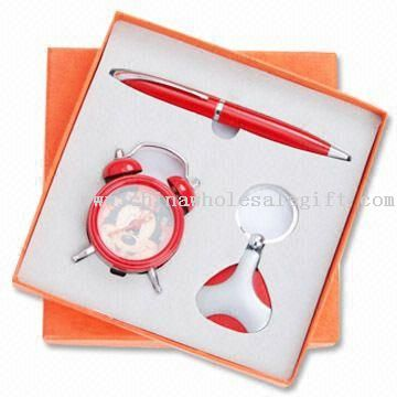Three-piece Stationery Gift Sets, Includes Alarm Clock, Keychain and Ballpoint Pen