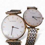 Metal Couple Watches with Stainless Steel Case, Imported Movement with Two Hands images