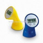 Novelty Desk Clock/Promotional Plastic Table Clock with Torch, Flexible Head, and Large Logo Space images