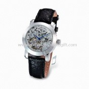Stainless Steel Case Metal Watch with Automatic Movement and Genuine Leather Strap images