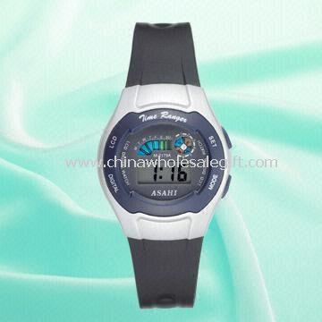 Wyświetlanie daty zegarek LCD 3,5 cyfry damska z paskiem z tworzywa sztucznego,