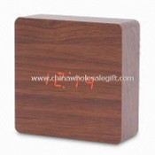 Wooden LCD Table Clock with Sound Sensor, Meausuring 13 x 13 x 4.9cm images