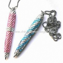 Novelty Crystal Pens with Ordinary Chinese Stones, Taiwanese, and Swarovski Stone images