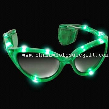 Sunglasses with 10 Flashing LEDs, Available for OEM Orders