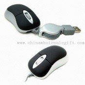 Mini 3-D Optical Mouse with Retractable Cable, Compatible with 1.1/2.0 USB-port images