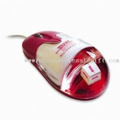 USB Liquid Optical Mouse, Can Show Different 3-D Logo Floater in Aqua, Suitable for Promotion images