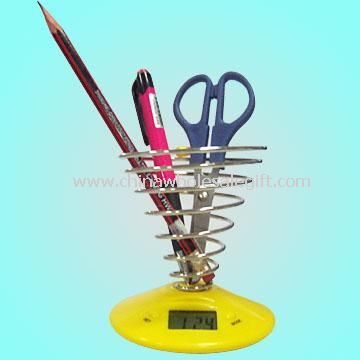 Novelty Screw Pen Holder with Timepiece