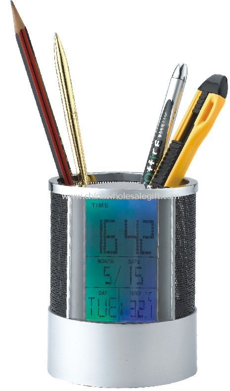 Pen Holder Clock With Changing Color Backlight