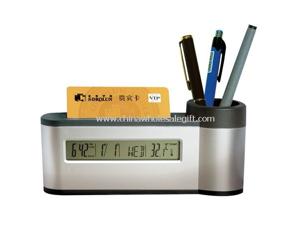 Pen holder with card case and LCD clock