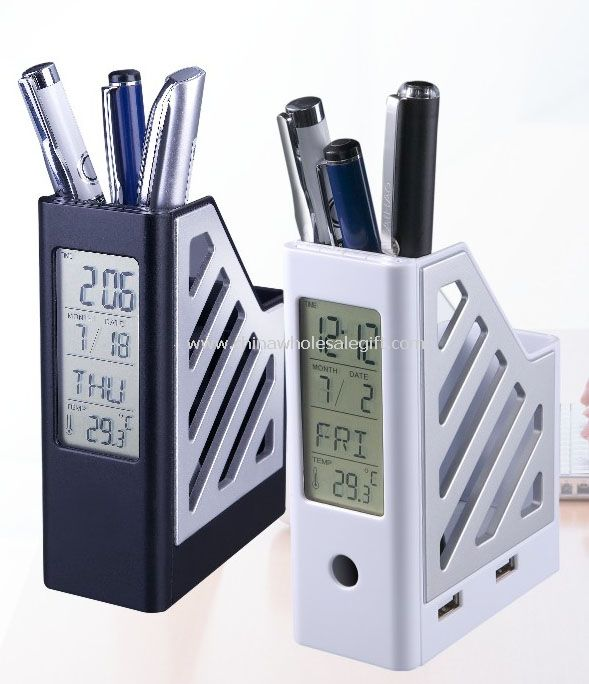 Pen Holder with LCD Clock