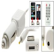 FM Transmitter with Car Charger Remote Control for iPhone 3G iPod Nano White images