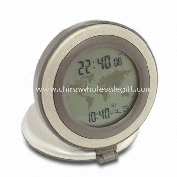 LCD Travel World Time Clock with Temperature Made of Aluminum and Plastic