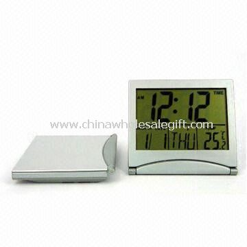 Plastic LCD Travel Alarm Clock with Large Space for Printing