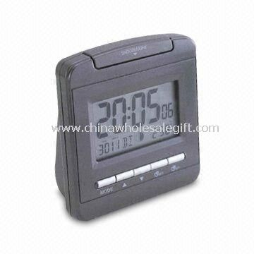 Radio-controlled LCD Travel Alarm Clock with 12/24 Hour Formats