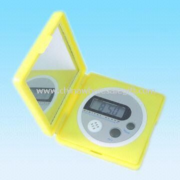 Travel Digital Alarm Clock with Mirror and Four-digit LCD Panel