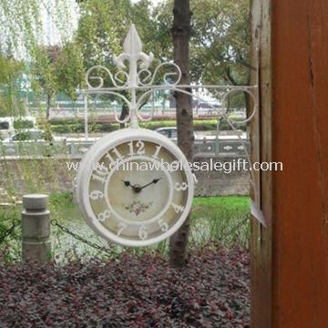 Waterproof and Multifunctional Double-sided Garden Wall Clock with Thermometer