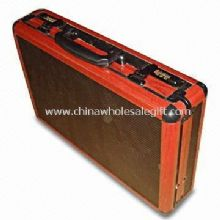 Aluminum Attache Case With Wood Veins Aluminum Frame and Nylon Cloth Inner images