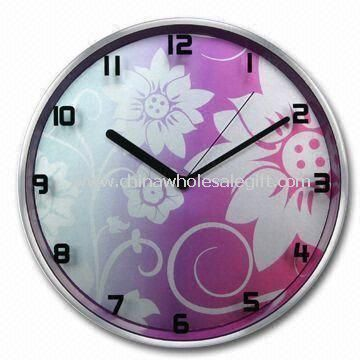 Aluminium Wall Clock with UV Printing Bright Design on Glass Lens