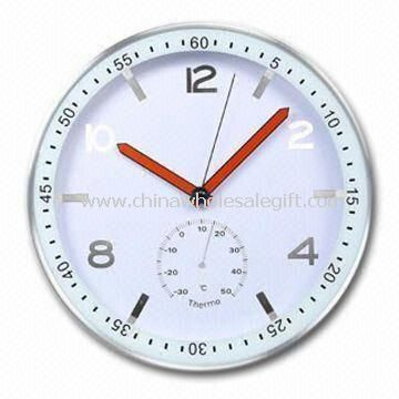 Aluminum Wall Clock with Shiny Figures on Dial and Double Colored Hands