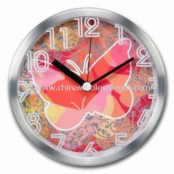 Aluminum Wall Clock with Silkscreen Design on Glass Lens