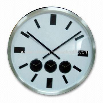 Aluminum Wall Clock with Three Time Zones