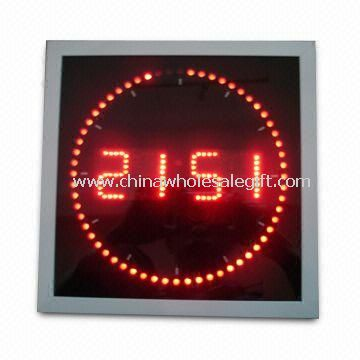 LED Wall Clock in Roll Square Shape with White Aluminum Frame