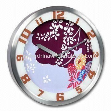 Silkscreen design on glass lens Aluminum Wall Clock