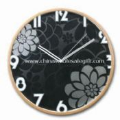 Wooden Wall Clock with Acid Etched Design on the Glass Lens images