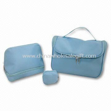 3-piece Cosmetic Bag Set Made of 70D Polyester with PVC Backing