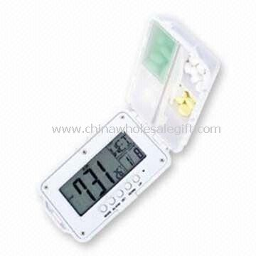 Digital Pill Box with Thermometer Calendar and Countdown Date Functions